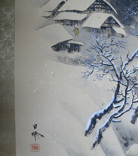 192 японский рисунок на свитке зима в