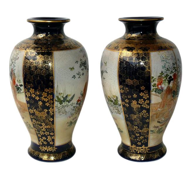 Антикварные парные вазы сацума